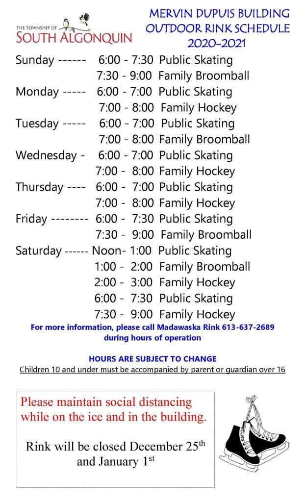 Madawaska Outdoor Rink Schedule 2021